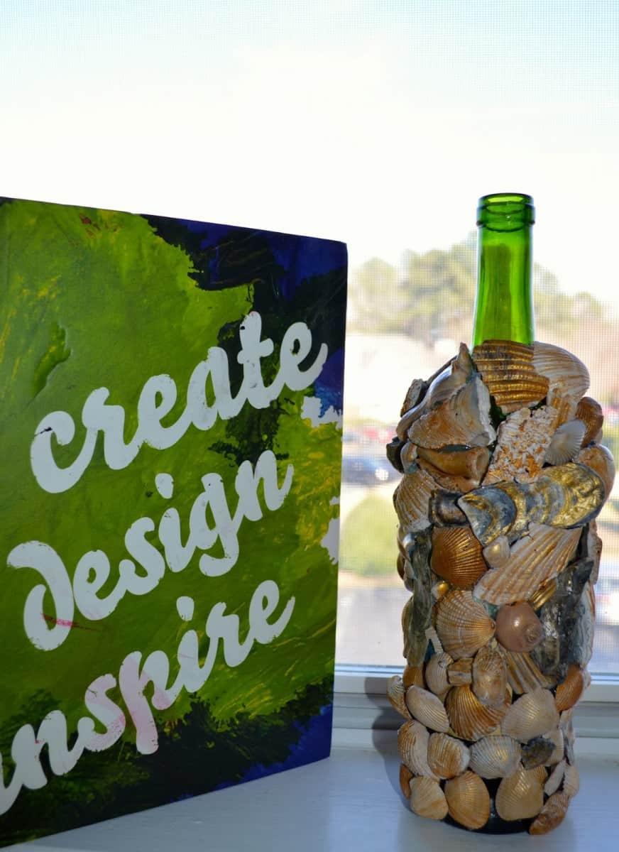 DIY Shell Encrusted Wine Bottle