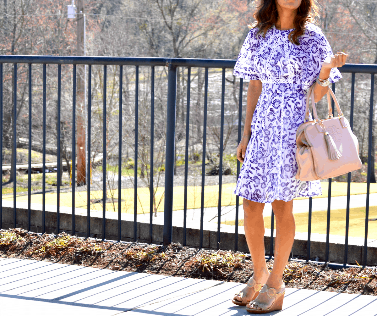 floral dress with wedges