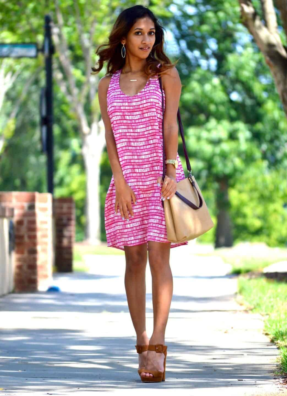 magenta print dress