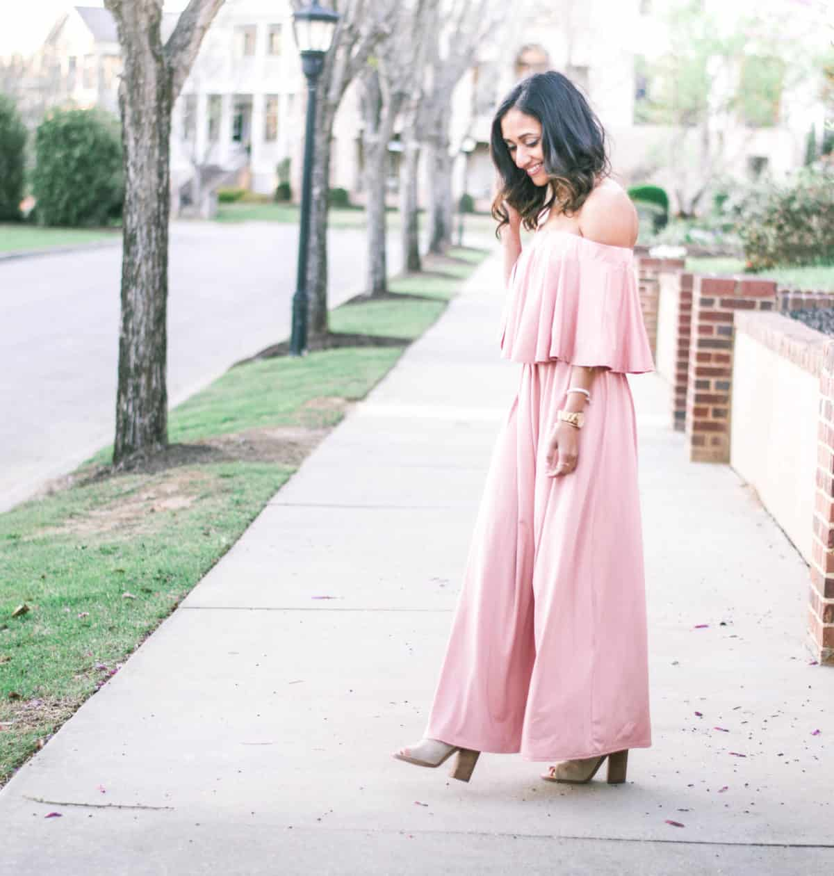 blush off the shoulder maxi dress