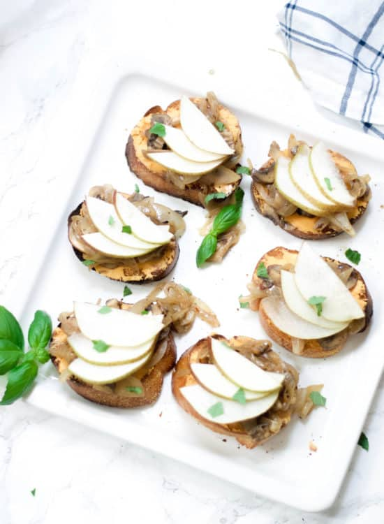 onion and mushroom crostini
