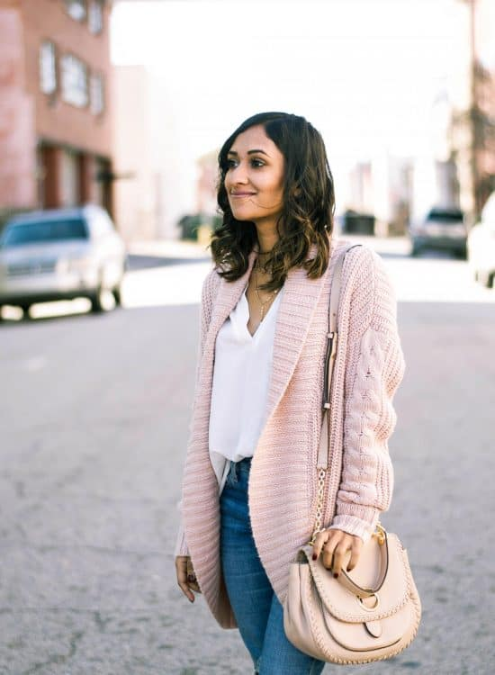 pink spring transitional outfit