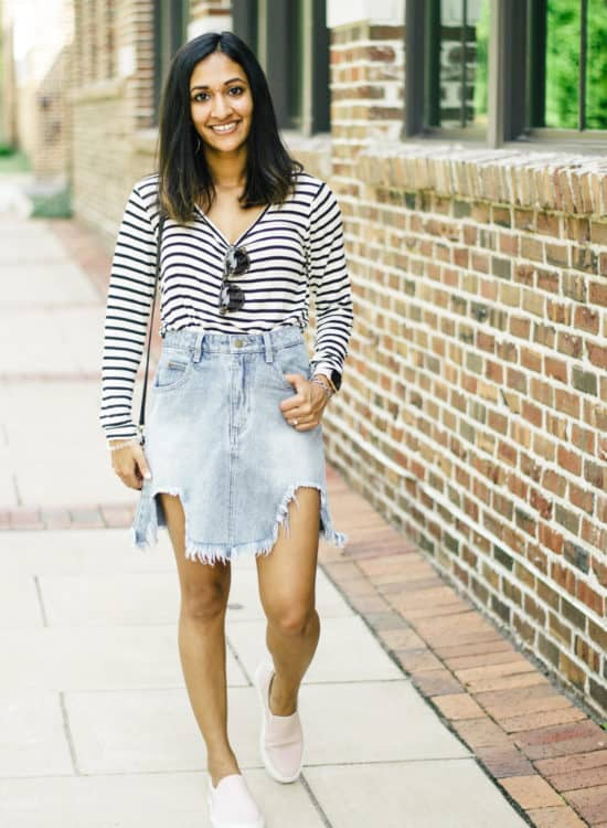 How to Style a Denim Skirt for Fall