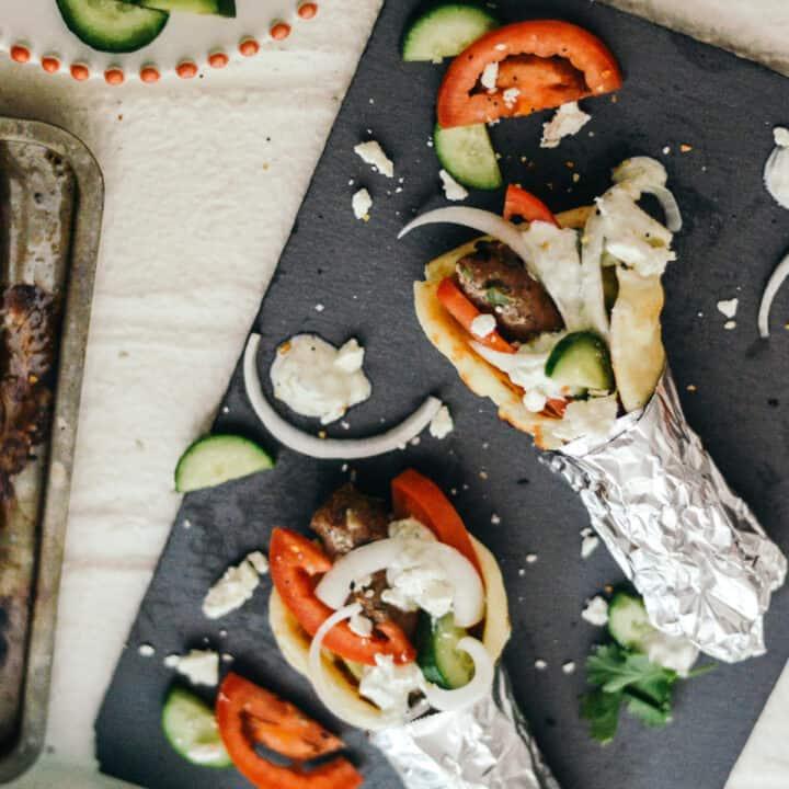 Greek Turkey Gyro Recipe with Tzatziki