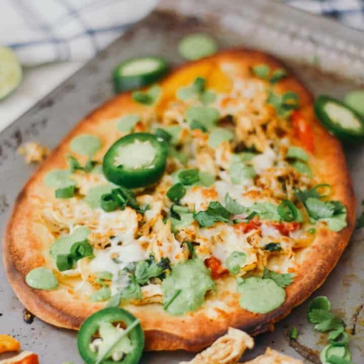 Tandoori Chicken Naan Pizza with Creamy Cilantro Sauce