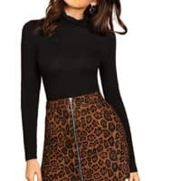 Mid Waist Above Knee O-Ring Zipper Front Leopard Print Skirt