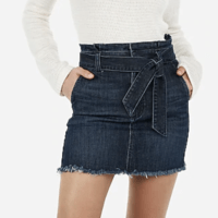 high waisted sash tie frayed hem mini skirt