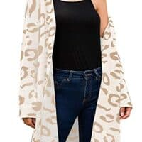 FAFOFA Women Leopard Print Long Sleeve Knit Cardigan Open Front Sweater Outwear Coat with Pocket