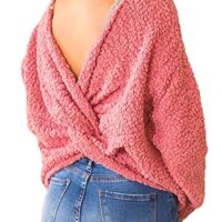 Asvivid Women's Long Sleeve Criss Cross V Neck Knitted Sweater Backless Loose Jumper Sweaters