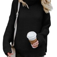 ZKESS Womens Casual Long Sleeve Turtleneck Knit Pullover Sweater