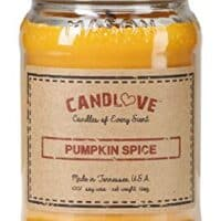 CANDLOVE Pumpkin Spice Scented 16oz Mason Jar Candle 100% Soy Made in The USA