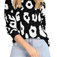 Angashion Women's Causal Long Sleeve Crew Neck Leopard Print Knitted Pullover Sweater Tops