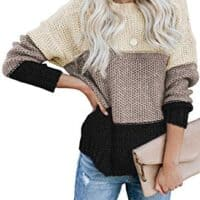 Color Block High Neck Ribbed Knit Oversized Pullover Sweaters