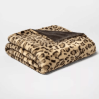 Leopard Faux Fur Throw Blanket Neutral