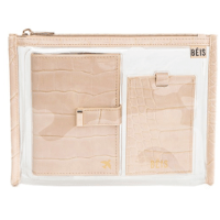 BEIS Passport and Luggage Tag Set in Beige Croc