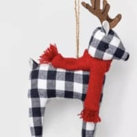 Fabric Deer Christmas Ornament Navy Check