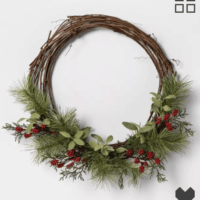 "18"" Faux Pine Wreath with Red Berries"