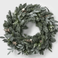"28"" LED Battery Operated Mixed Pretty Gold Eucalyptus Wreath"