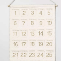 "20"" x 16"" Fabric Wall Banner Advent Calendar with Tassels Cream/Gold"