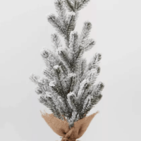 "18"" Burlap Wrapped Plastic Flocked Tree"