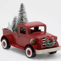 Small Truck with Christmas Tree Decorative Figure Red