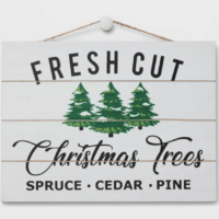 Fresh Cut Christmas Trees Decorative Sign White and Navy