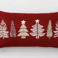 Trees Oversize Lumbar Throw Pillow Red
