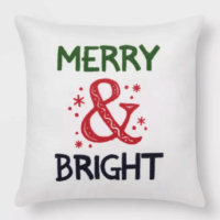 Merry & Bright' Print Square Throw Pillow Cream