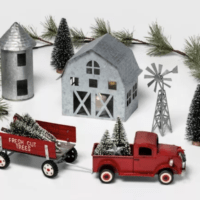 Galvanized Farmhouse, Silo, Truck, Wagon, Windmill, Bottle Brush Tree and Garland