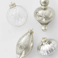 10ct Glass Assorted Christmas Ornament Set Clear & Silver Mercury Glass
