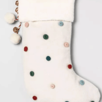 "20"" x 8"" Pom Pom Christmas Stocking Cream"