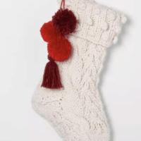 Holiday Stocking Sour Cream Knit with Red Poms
