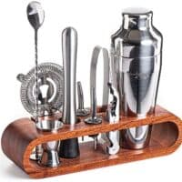 Mixology Bartender Kit: 10-Piece Bar Tool Set with Stylish Mahogany Stand - Perfect Home Bartending Kit and Martini Cocktail Shaker Set For an Awesome Drink Mixing Experience - Exclusive Recipes Bonus