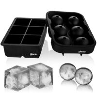 glacio Ice Cube Trays Silicone Combo Mold - Set of 2, Sphere Ice Ball Maker with Lid; Large Square Molds, Reusable and BPA Free