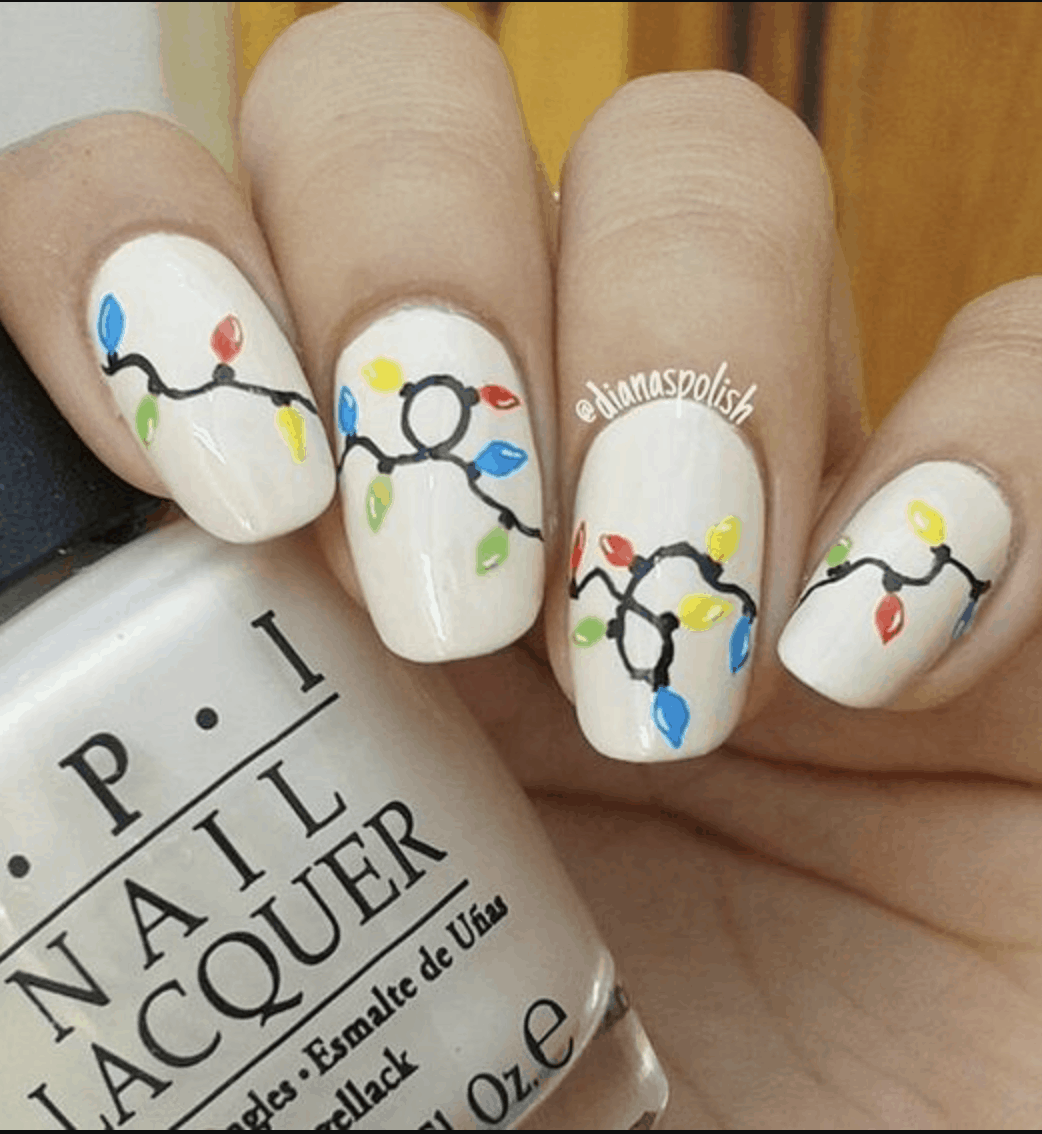 STring Lights Holiday Nail Ideas for 2019