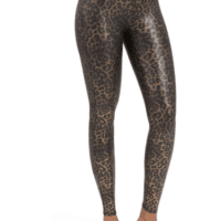 Leopard Print Faux Leather Leggings