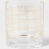 14oz Plastic Double Old-Fashioned Fall Plaid Print Glass - Threshold™