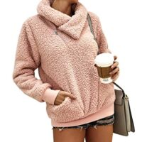Women's Winter Lapel Sweatshirt Faux Shearling Shaggy Warm Pullover Zipped Up with Pockets Tops