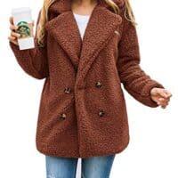 Women's Fashion Long Sleeve Lapel Zip Up Faux Shearling Shaggy Oversized Coat Jacket with Pockets