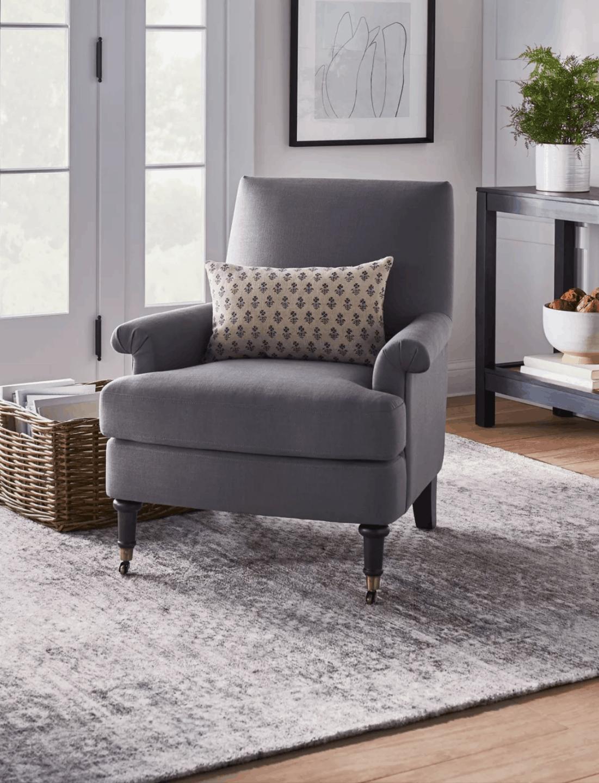 comfy grey armchair