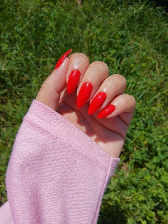 bright red nails